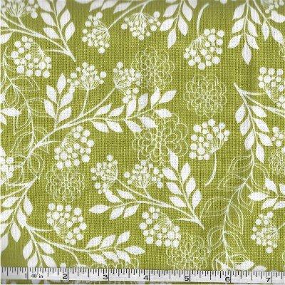 C5472-GREEN  Fantine Main Riley Blake White on Green Floral