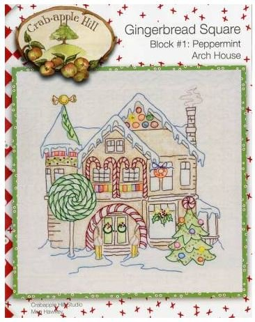 CAH2521 Crabapple Hill Hand Embroidery Gingerbread Square 9 Month Complete Set