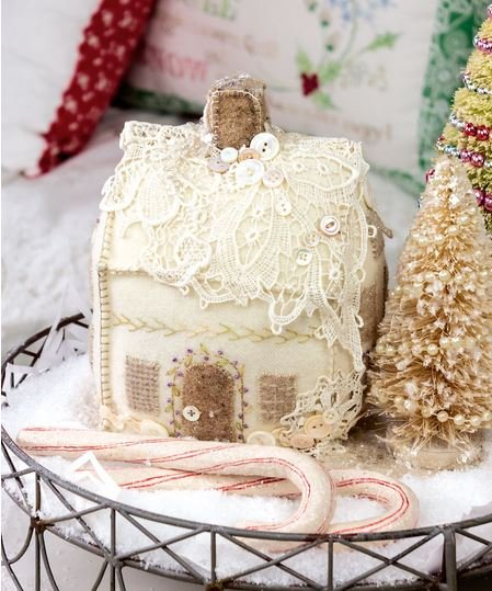 CAH449 Crabapple Hill Hand Embroidery Lacy Wool Cookie House Pincushion