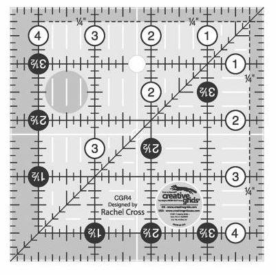 CGR4 Creative Grid 4-1/2 Square Ruler Made in the USA
