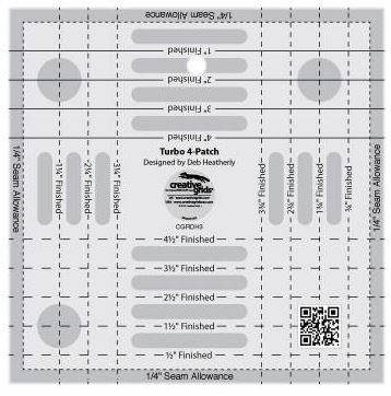 Creative Grids Turbo 4-Patch Tool Quilting Ruler Template cgrDH3
