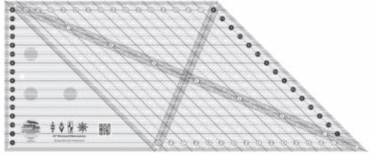 CGREU2 Creative Grids Ruler 45 Deg. Diamond Dimensions Made in the USA
