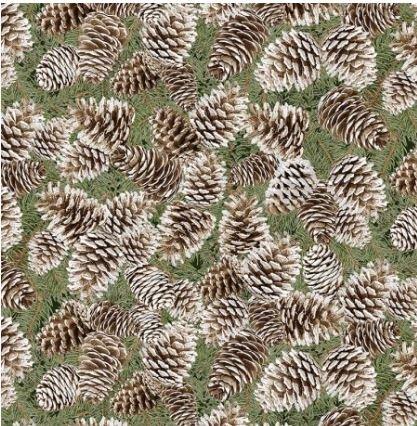 CM6962-PINE Timeless Treasures A Very Merry Christmas Pine cones Silver Metallic