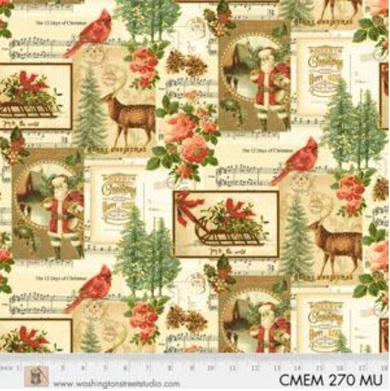 CMEM270MU P&B Textiles Christmas Memories Gold Metallic