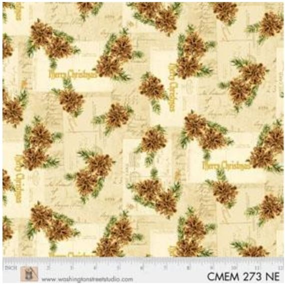 CMEM273NE P&B Textiles Christmas Memories Gold Metallic