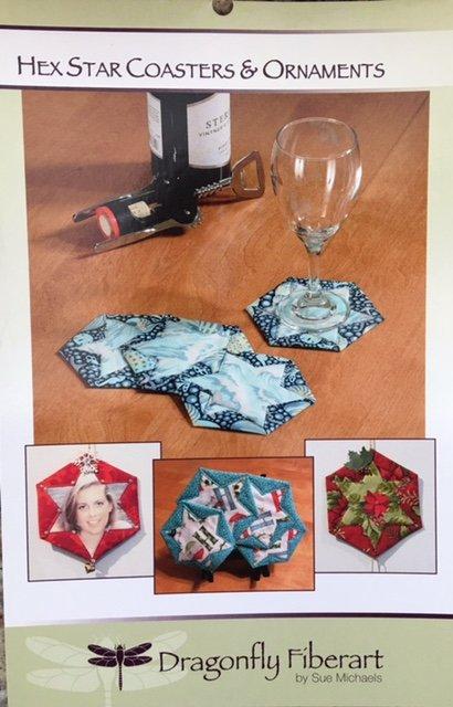 DFHD-14 Dragonfly Fiberart Pattern Cards Hex Star Coasters & Ornaments