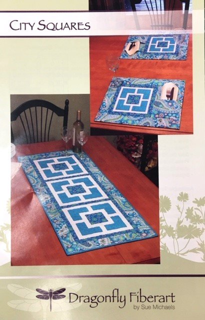 DFTR-39 Dragonfly Fiberart Pattern Cards City Squares Runner and Placemats
