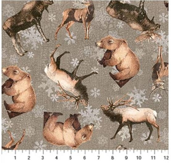 F22826-93 Northcott North Ridge, Flannel, Elk, Bear, Moose, and Deer Grey
