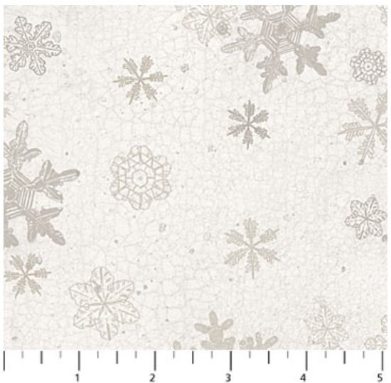 F22827-11 Northcott North Ridge, Flannel Snowflakes on Cream