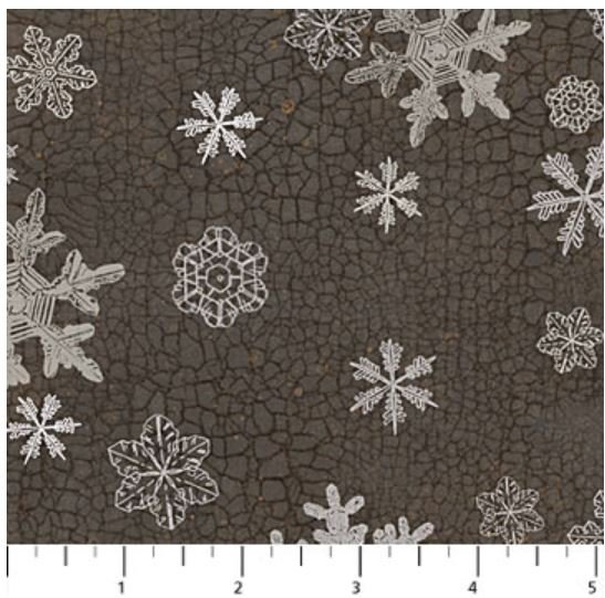 F22827-96 Northcott North Ridge, Flannel, Snow Flakes on Charcoal