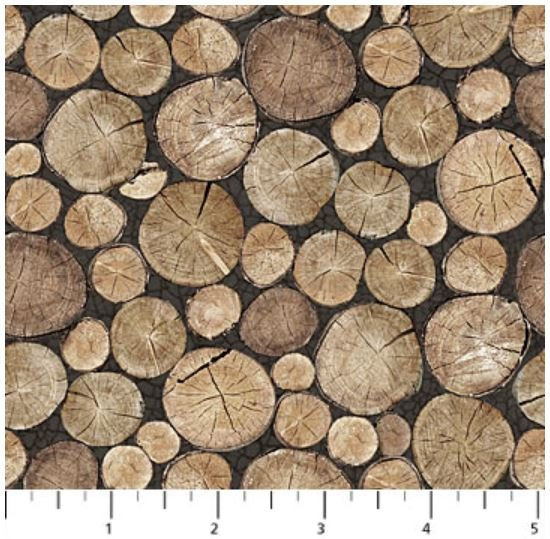 F22828-93 Northcott North Ridge, Flannel, Rolled Logs Grey