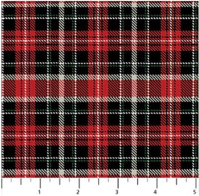 F22839-24 Northcott Cardinal Woods, Flannel, Red and Black Plaid