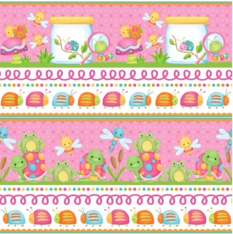 F6695-22 Cuddle Bugs Henry Glass Flannel Pink Border Print