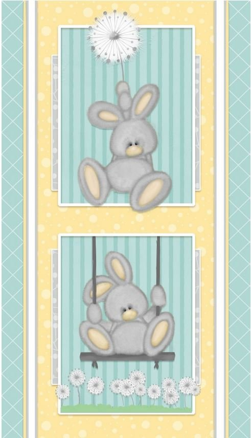 F6892P-11 Henry Glass Fluffy Bunny Flannel Blue Panel