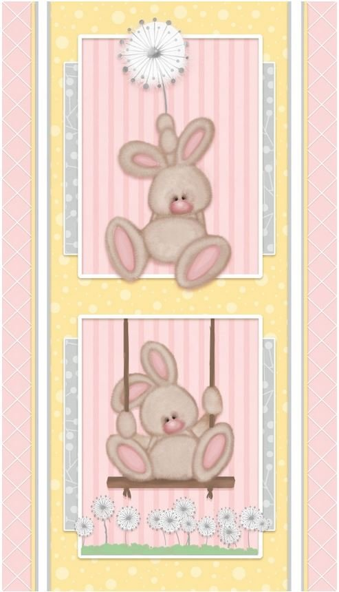 F6892P-22 Henry Glass Fluffy Bunny Flannel Pink Panel