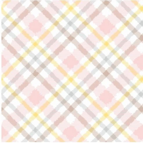 F6898-2 Henry Glass Fluffy Bunny Flannel Pink Plaid on Bias