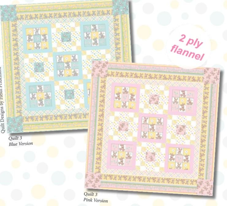 F689-3KIT  Henry Glass Fluffy Bunny  Quilt 3 53 x 53 Pink