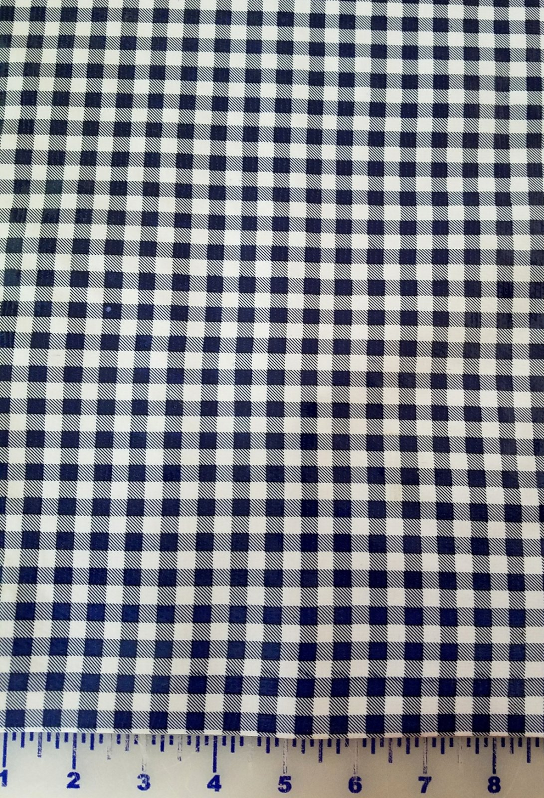 R121 Oilcloth 48 wide Navy Gingham