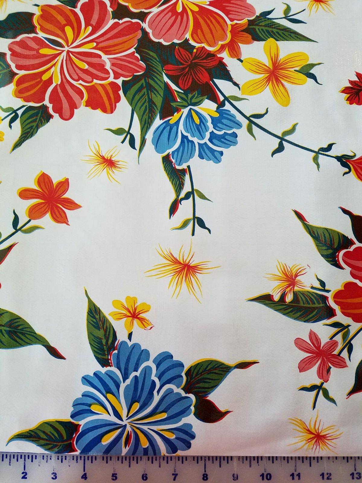 R198 Oilcloth 48 wide Hawaii White