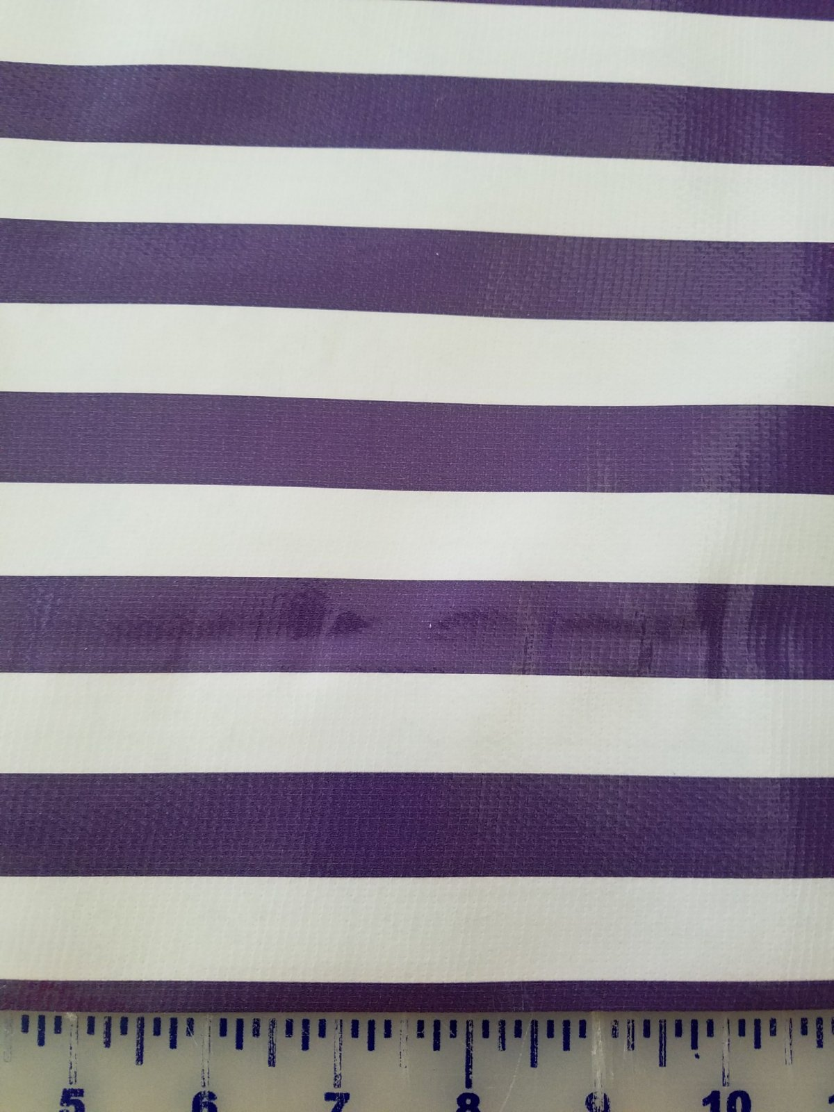 R436 Oilcloth 48 wide Purple Stripe