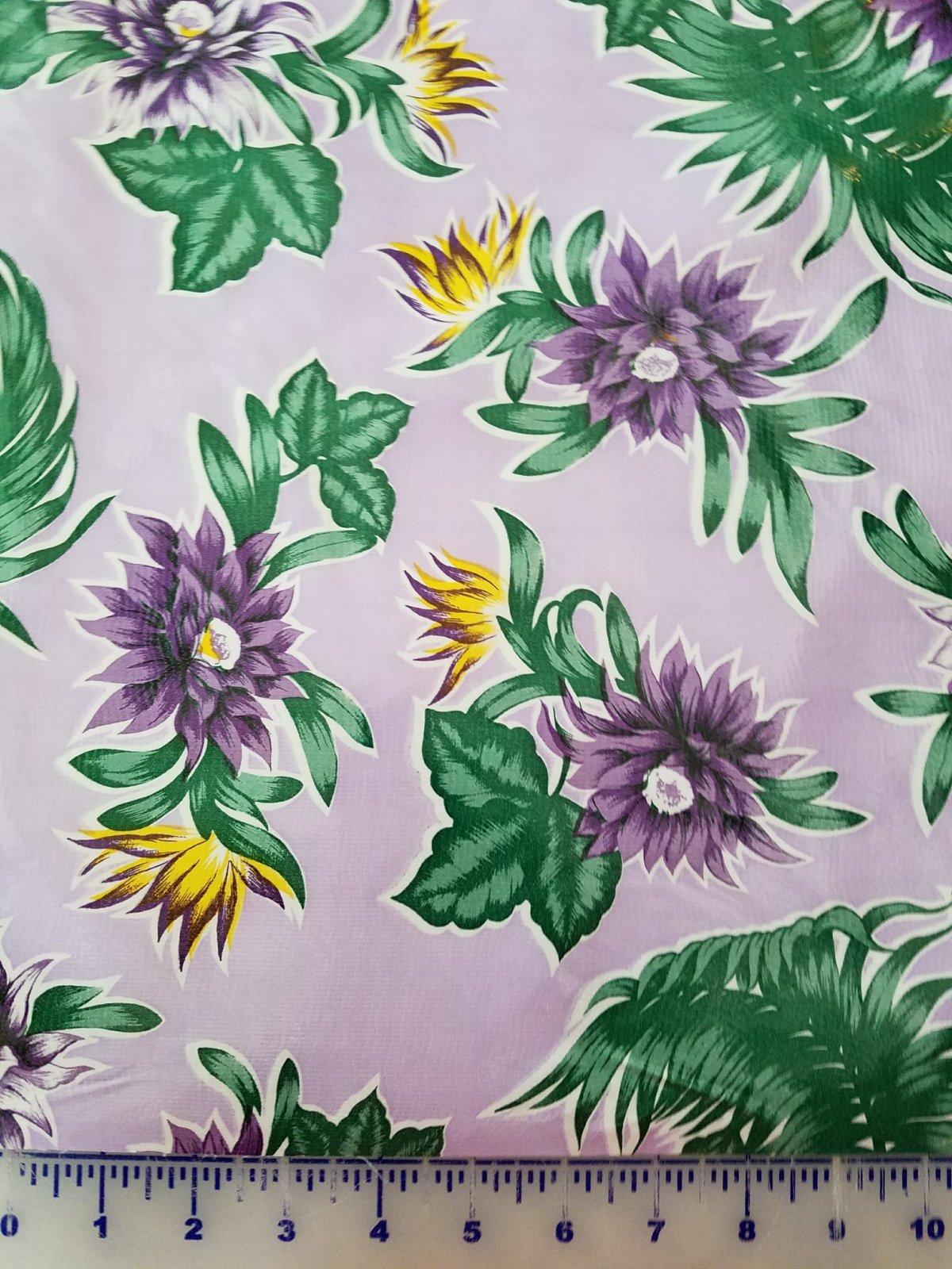 R872 Oilcloth 48 wide Purple Tropics