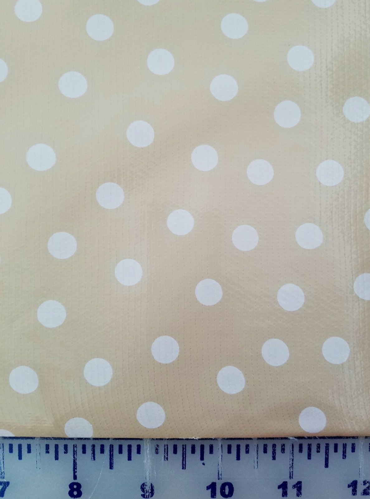R158 Oilcloth 48 wide White Dot on Tan