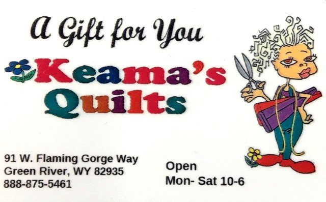 GIFTCARD Keama's Quilts Gift Card. New Hours See below.