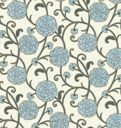 HARM160-B P & B Textiles Harmony Blue Floral w/Metallic