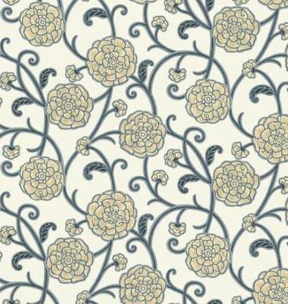 HARM160-NE P & B Textiles Harmony Natural Floral w/Metallic