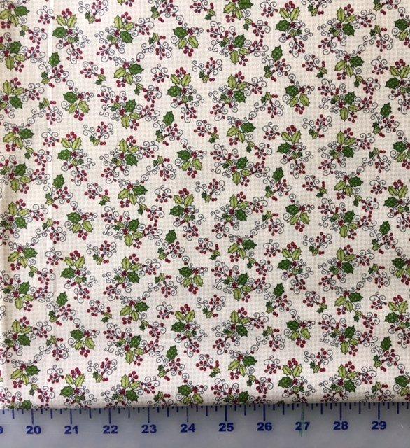 HEG8764-44 Henry Glass Glad Tidings Cream Holly Leaves