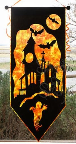 HH-L-2017 Stirrups & Stitches Haunted House Laser-cut Silhouette collection Reverse Applique