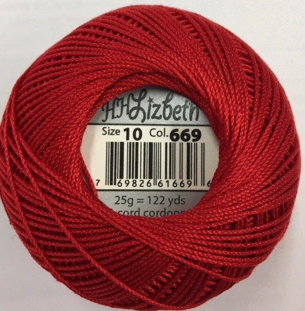HHS10-669 Handy Hands Lizbeth 6-cord cordnnet thread sz 10 Poppy Red