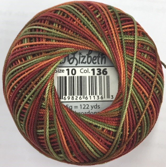HHV10-136 Handy Hands Lizbeth 6-cord cordnnet thread sz 10 Autumn Spice