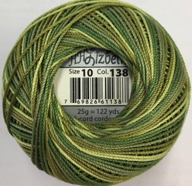 HHV10-138 Handy Hands Lizbeth 6-cord cordnnet thread sz 10 Leafy Greens