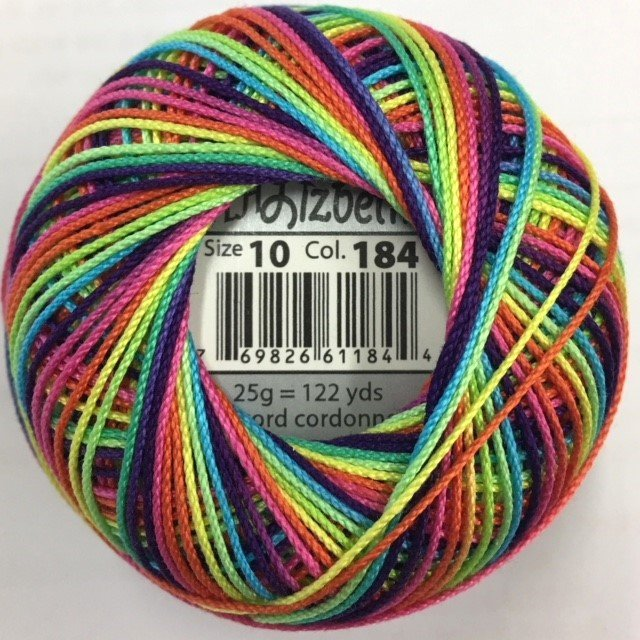 HHV10-184 Handy Hands Lizbeth 6-cord cordnnet thread sz 10 Rainbow Splash