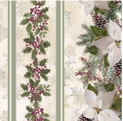 HOLIDAY-CM6963-CREAM Timeless Treasures Holly Poinsettia & Pine Border Print