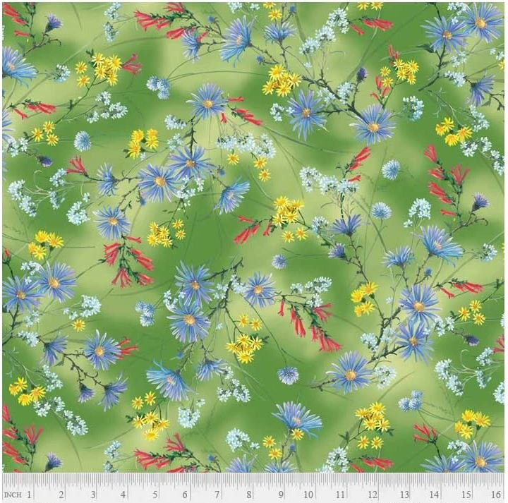 HUMB4084-G P&B Textiles Hummingbirds Collection, Green Wild Flowers