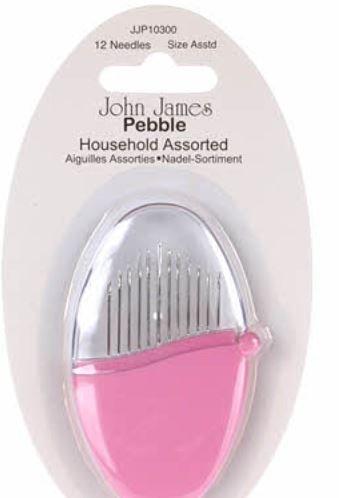 JJP10300 John James Pebbles Household Needles Assorted Sizes 12ct Vivacious Pink