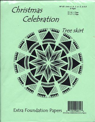 JNQ-61E Extra Foundation Papers  Judy Niemeyer Christmas Celebration Tree Skirt