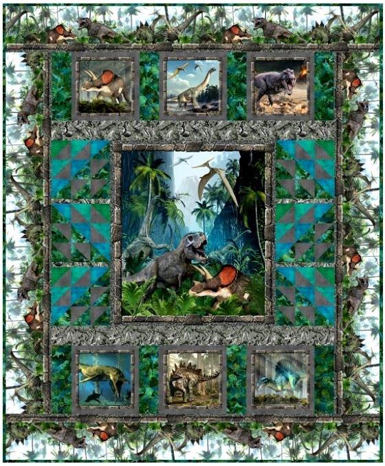 JURASSIC, In the Beginning, Dinosaur Quilt 77-1/2 x 93-1/2