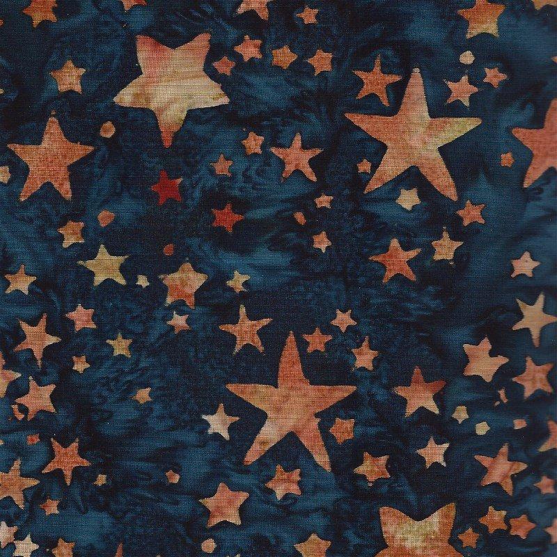 K2435-549 Hoffman of California Batik Bali Chops Celestials Blue Stars