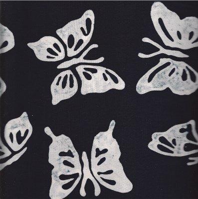 K2462ORBUTFLY Hoffman of California Batik Black with White Butterflies