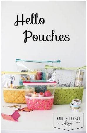 KAT102, Hello Pouches, Knot and Thread Designs, Vinyl Bag, Four Sizes