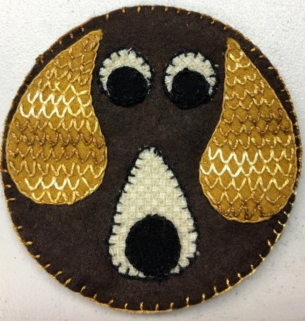 KQWC100, Keama's Quilts Coffee Coaster 4-1/2 Puppy
