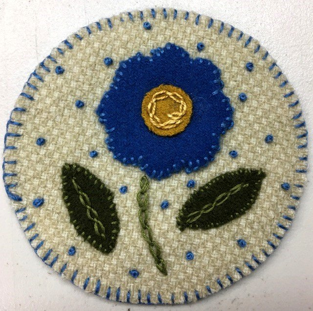 KQWC102, Keama's Quilts Coffee Coaster 4-1/2 Blue Flower