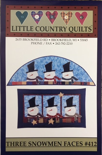 LCQ412 Little Country Quilts Three Snowmen Faces Pattern