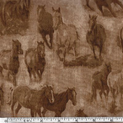 MAS8104-A Maywood Workin the West Running Horses Tan