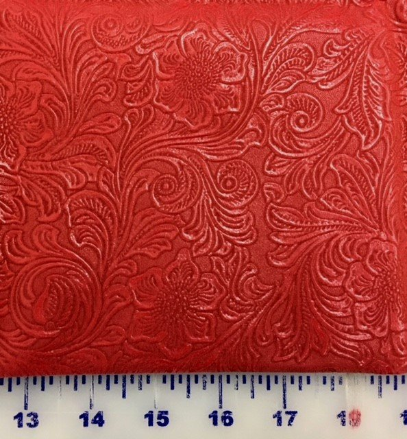 MELROSETRED Melrose #1 Imitation Leather Tooled Red 100% Poly 27 by 36 Fat Half MELROSETRED