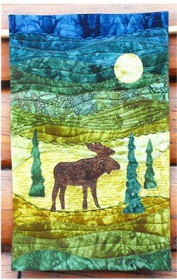 Moonlight Moose On The Trail Creations Wall Hanging 10 x 16
