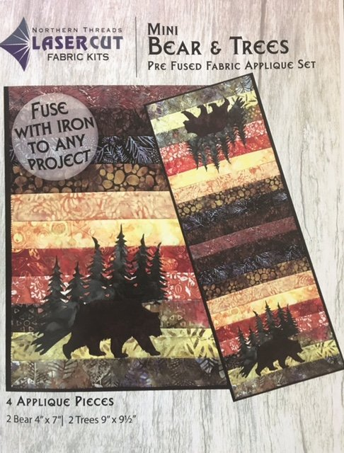 NTBEAR Northern Threads Applique Runner Kit Bear & Trees 18 x 42